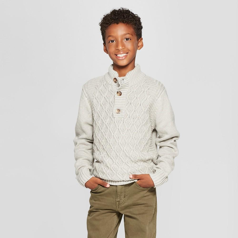 Boys' Pullover Sweater - Cat & Jack Cream M, Gray