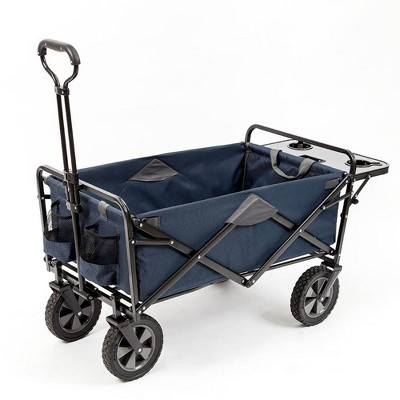 Mac Sports Heavy Duty Steel Frame Collapsible Folding 150 Pound Capacity Outdoor Garden Utility Wagon Yard Cart with Table and Cup Holders, Navy