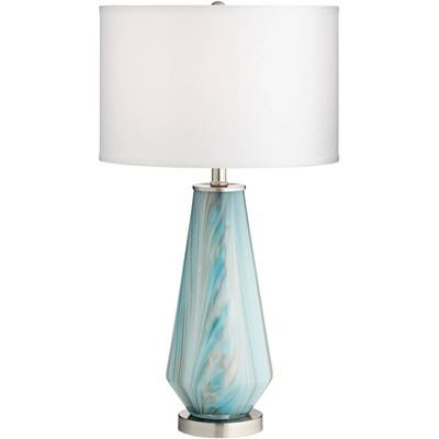 Possini Euro Design Modern Table Lamp Blue Gray Art Glass White Drum Shade Living Room Bedroom Bedside Nightstand Office Family