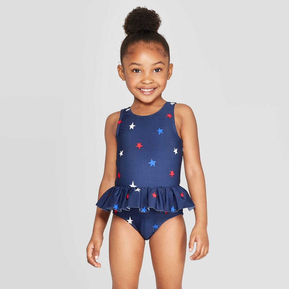f177ceb394b1f Toddler Girls Skirted One Piece Swimsuit Cat Jack Navy 3T Blue