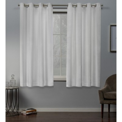 "Set of 2 96""x54"" Velvet Heavyweight Grommet Top Window Curtain Panel White - Exclusive Home"