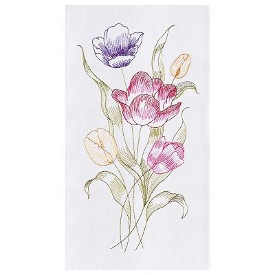 C&F Home Tulip Flour Sack Embroidered Cotton Kitchen Towel