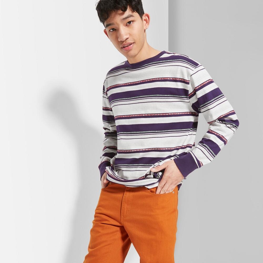 Men's Striped Regular Fit Long Sleeve Boxy T-Shirt - Original Use Essential Gray L