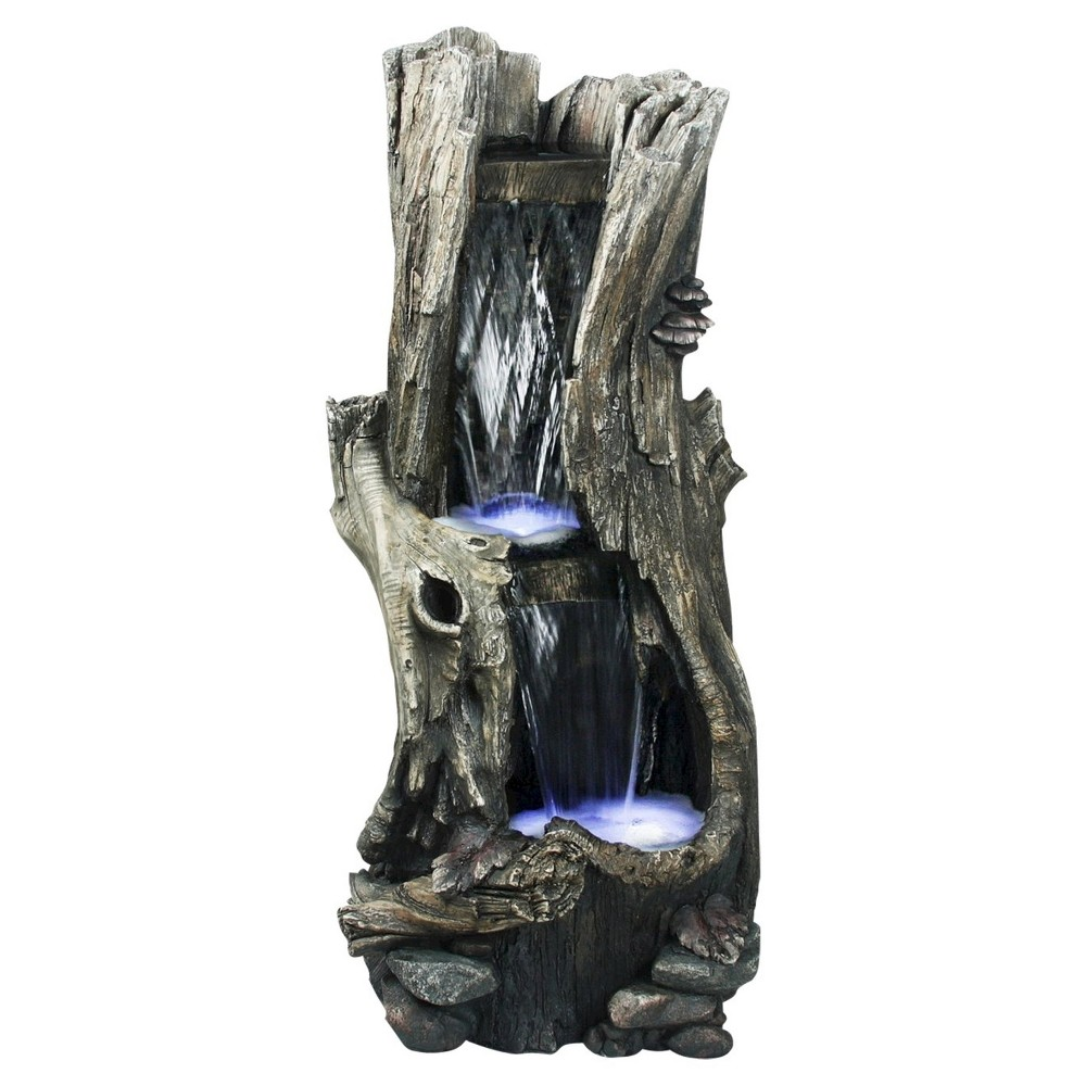 Alpine Corporation 41 RainForest Waterfall Tree Trunk With Led lights - Brown