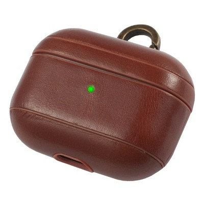 Insten Genuine Leather Case For Airpods Pro with Anti Loss Keychain Carrying Hook, Front LED Light Visible, Brown