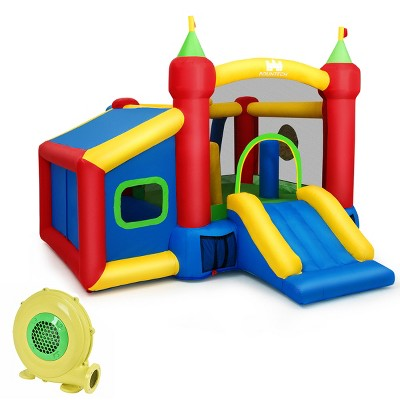 Kid Inflatable Bounce House Play Slide Jumping Castle Ball Pit w Blower