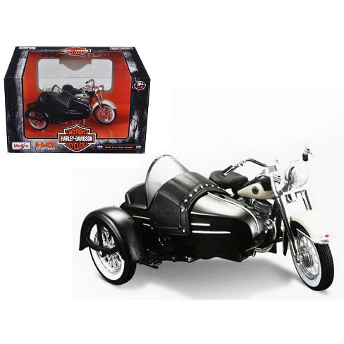 1958 Harley Davidson FLH DUO Glide with Side Car Black with White Motorcycle Model 1/18 Diecast Model by Maisto - image 1 of 1
