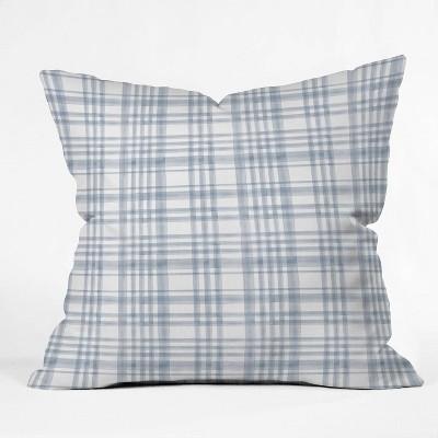 "16""x16"" Little Arrow Design Co Winter Watercolor Plaid Throw Pillow Blue - Deny Designs"