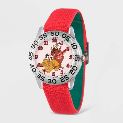 Kids' Disney New Lion King  Plastic Time Teacher Watch - Red