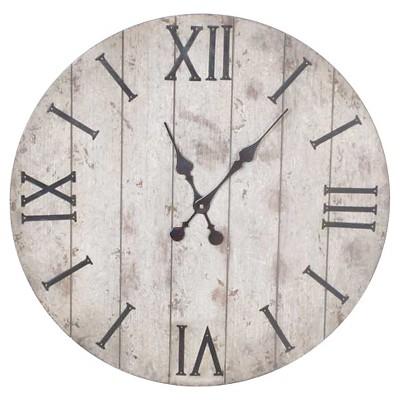 24  Wall Clock Rustic Weathered Wood - Threshold™