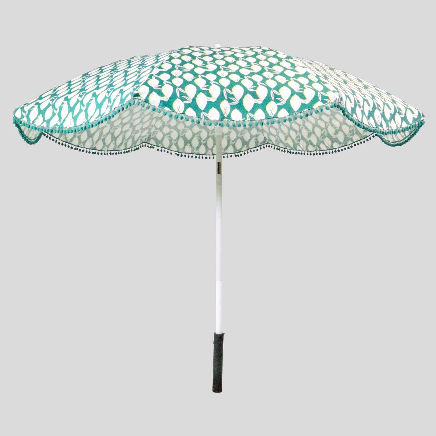 9' Lemons Scalloped Patio Umbrella Jade Green Poms - Light Wood Pole - Opalhouse™ - image 1 of 2