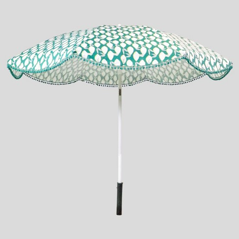 9 Lemons Scalloped Patio Umbrella Jade Green Poms Light Wood Pole Opalhouse Target