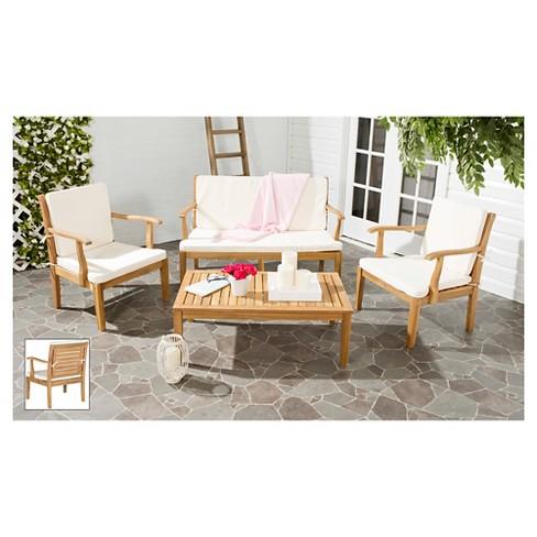 Malta 4 Piece Wood Patio Conversation Furniture Set Safavieh Target