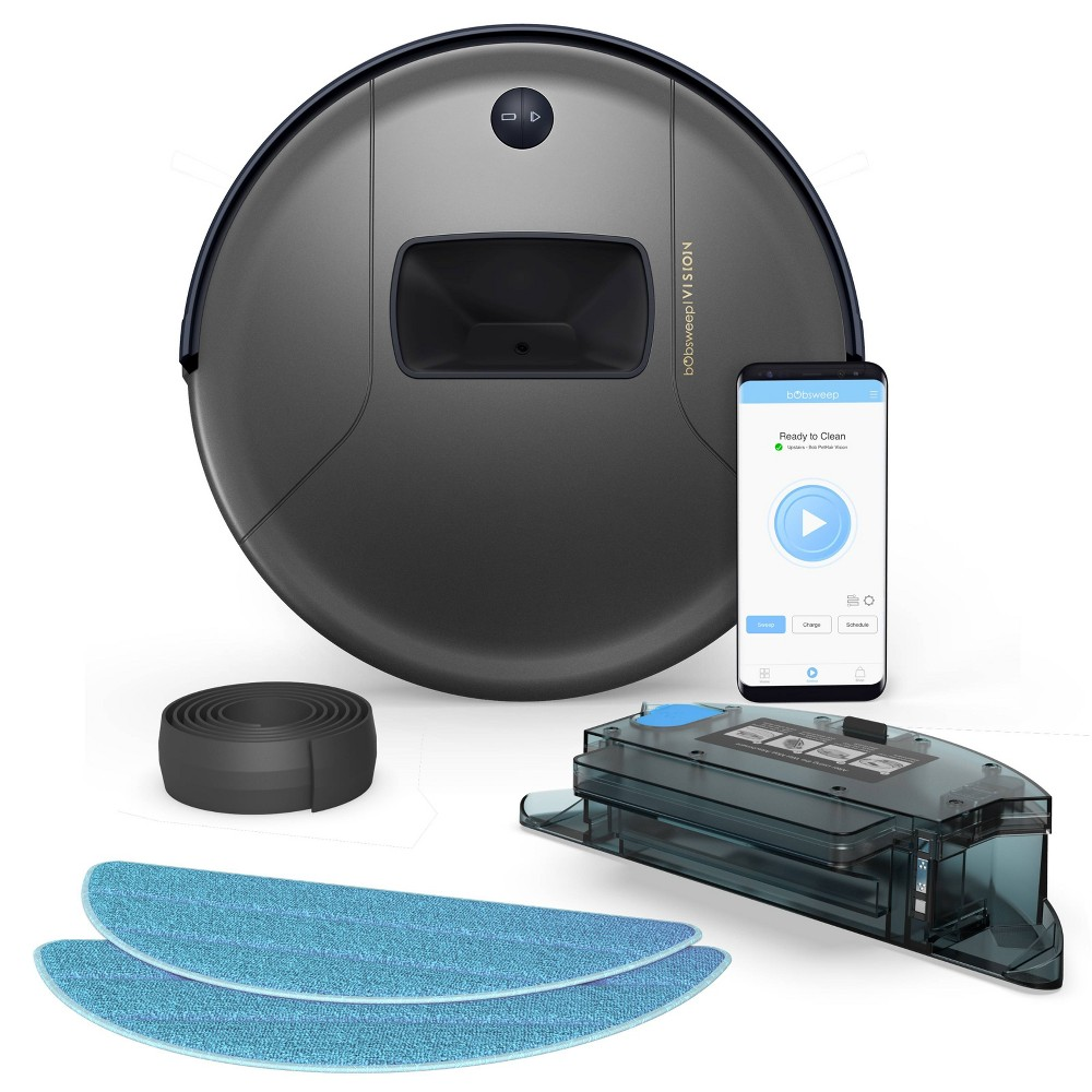 Image of bObsweep PetHair Vision Wi-Fi Connected Robotic Vacuum Cleaner and Mop - Space Gray