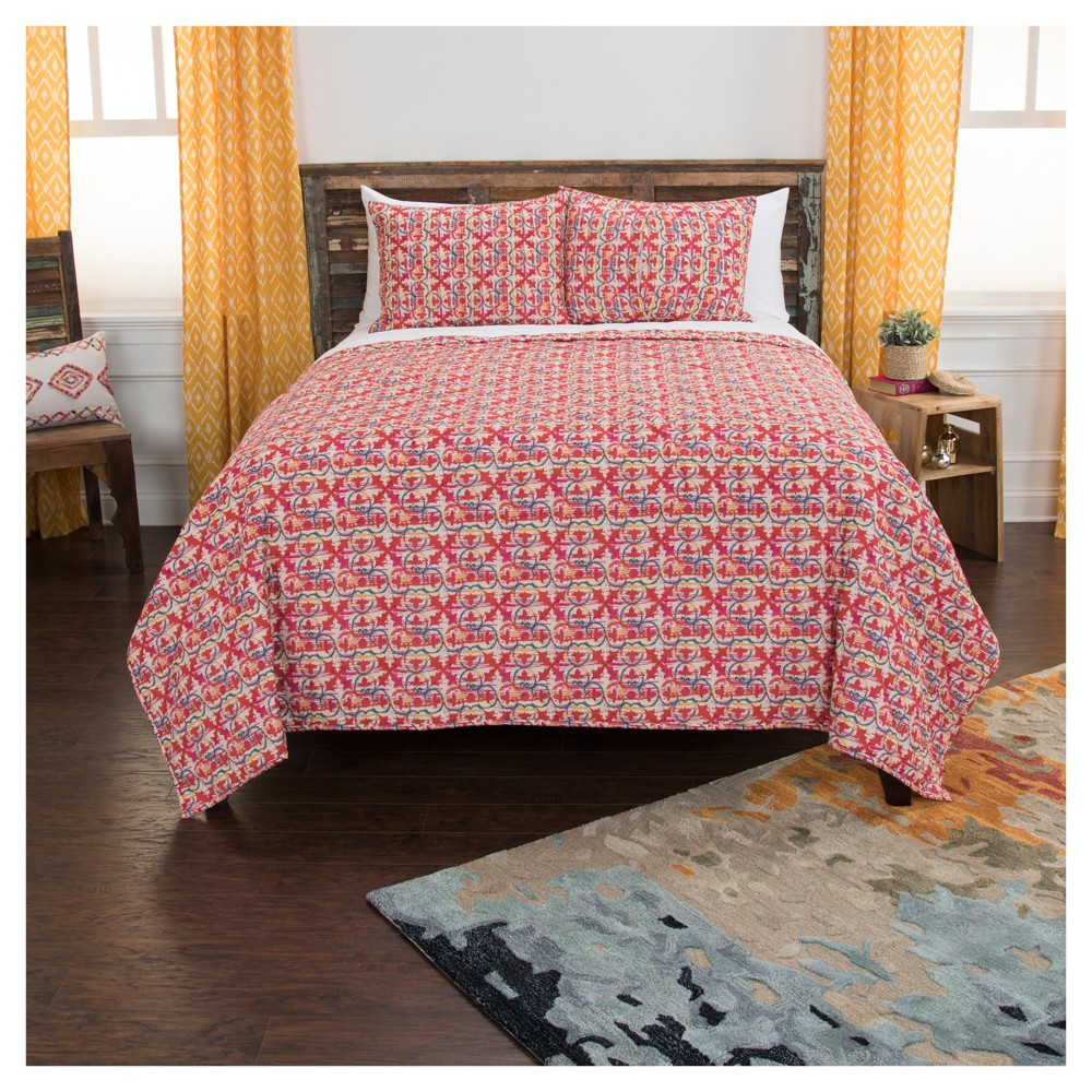 Red Geometric Cotton Maddux Place Quilt Set (Queen) - Rizzy Home