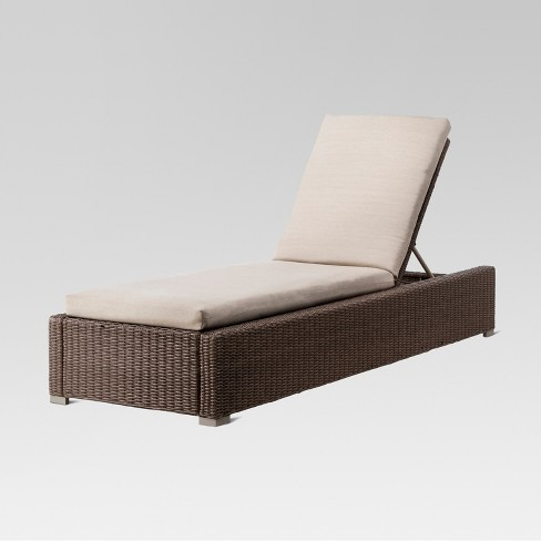 Heatherstone Wicker Patio Chaise Lounge Tan Threshold Target