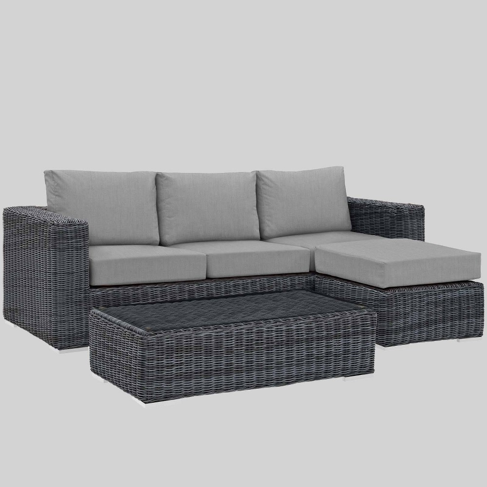 Summon 3pc Outdoor Patio Sectional Set with Sunbrella Fabric - Gray - Modway