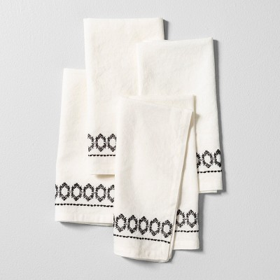 4pk Cloth Napkin Embroidered Set of 4 - Black / White - Hearth & Hand™ with Magnolia