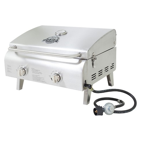 Two Burner Stainless Steel Portable Lp Gas Grill Pit Boss