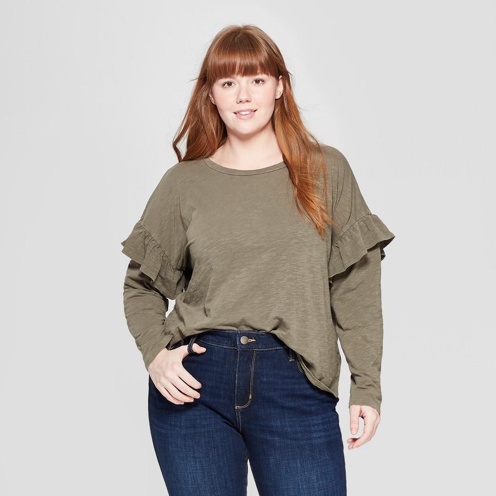 Women's Plus Size Long Sleeve Ruffle T-Shirt - Universal Thread Olive (Green) 2X