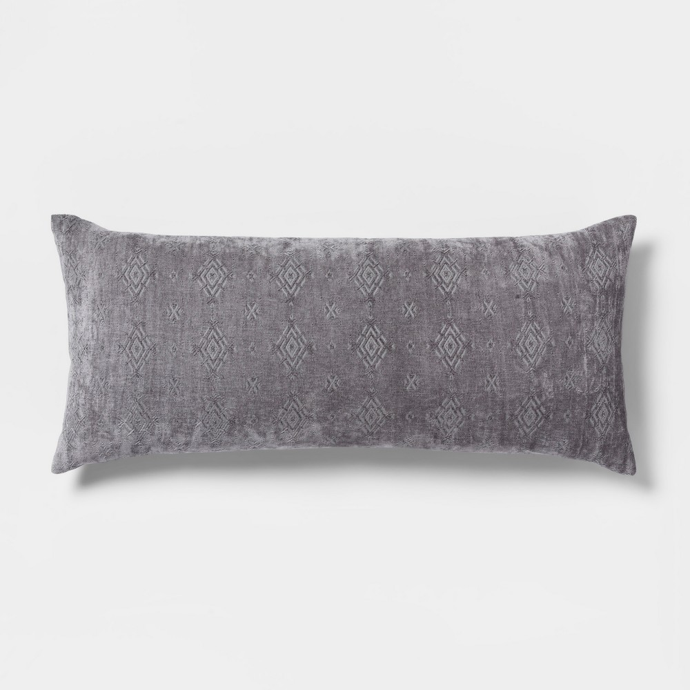 Image of Chenille Oversized Lumbar Pillow Pewter Moon - Threshold