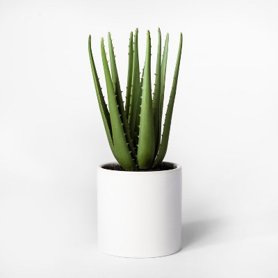 12.5  x 5  Artificial Aloe Plant In Pot Green/White - Project 62™