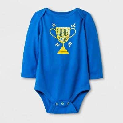 Baby Boys' Long Sleeve Bodysuit - Cat & Jack™ Blue 6-9M