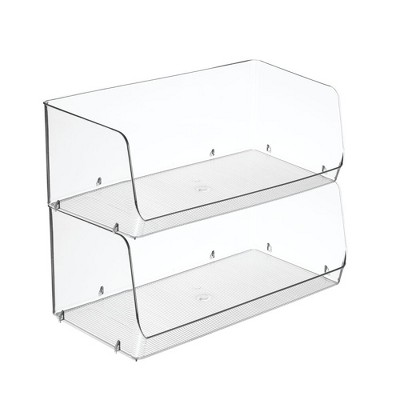 mDesign Stackable Plastic Food Storage Bin, Open Front, 2 Pack - Clear