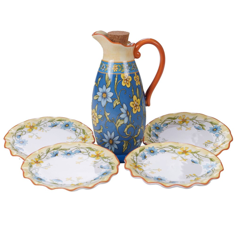 Image of 5pc Earthenware Torino Olive Oil Set Blue - Certified International, White Yellow Blue
