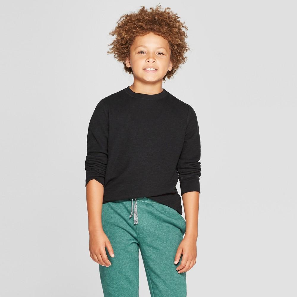Boys' Thermal Long Sleeve T-Shirt - Cat & Jack Black XS thumbnail