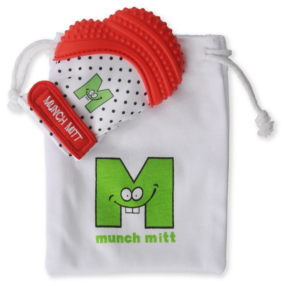 Image of Malarkey Kids Munch Mitt Teether with Wash/Travel Bag - Red