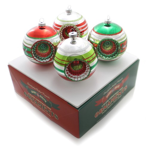 Set of 4 Shiny Brite Holiday Splendor 7 Tulip Reflector Ornaments