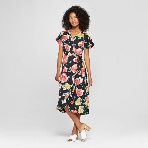 Women's Floral Print Short Flutter Sleeve Wrap Midi Dress - Who What Wear™  Black/Pink XL