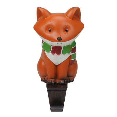 """Northlight 9"""" Standing Fox Wearing a Striped Scarf Christmas Stocking Holder"""