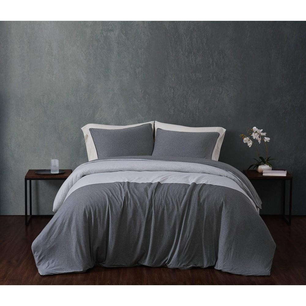 King 3pc Color Block 100 Cotton Jersey Duvet Cover Set Gray Sean John