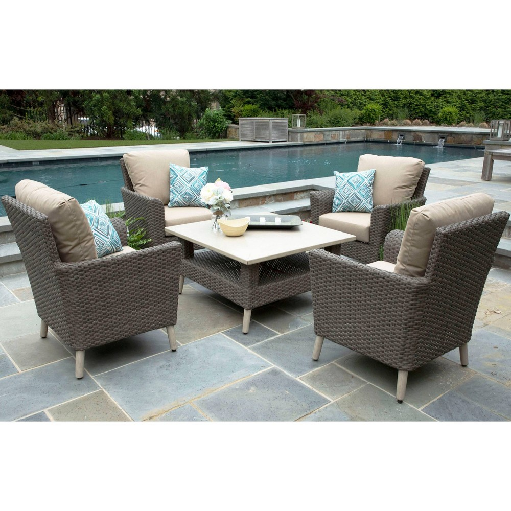 Image of Noble 5pc Sunbrella Sectional Tan - Canopy Home and Garden