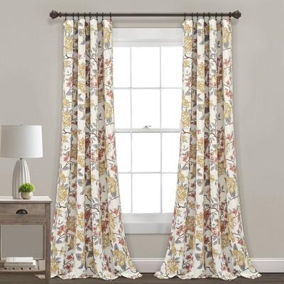 "Set of 2 (84""x52"") Ivana Floral Room Darkening Window Curtain Panels - Lush Décor"
