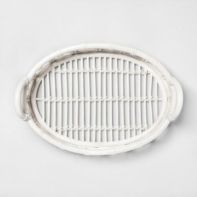 16.7  x 12.2  Decorative Rattan Tray White - Opalhouse™