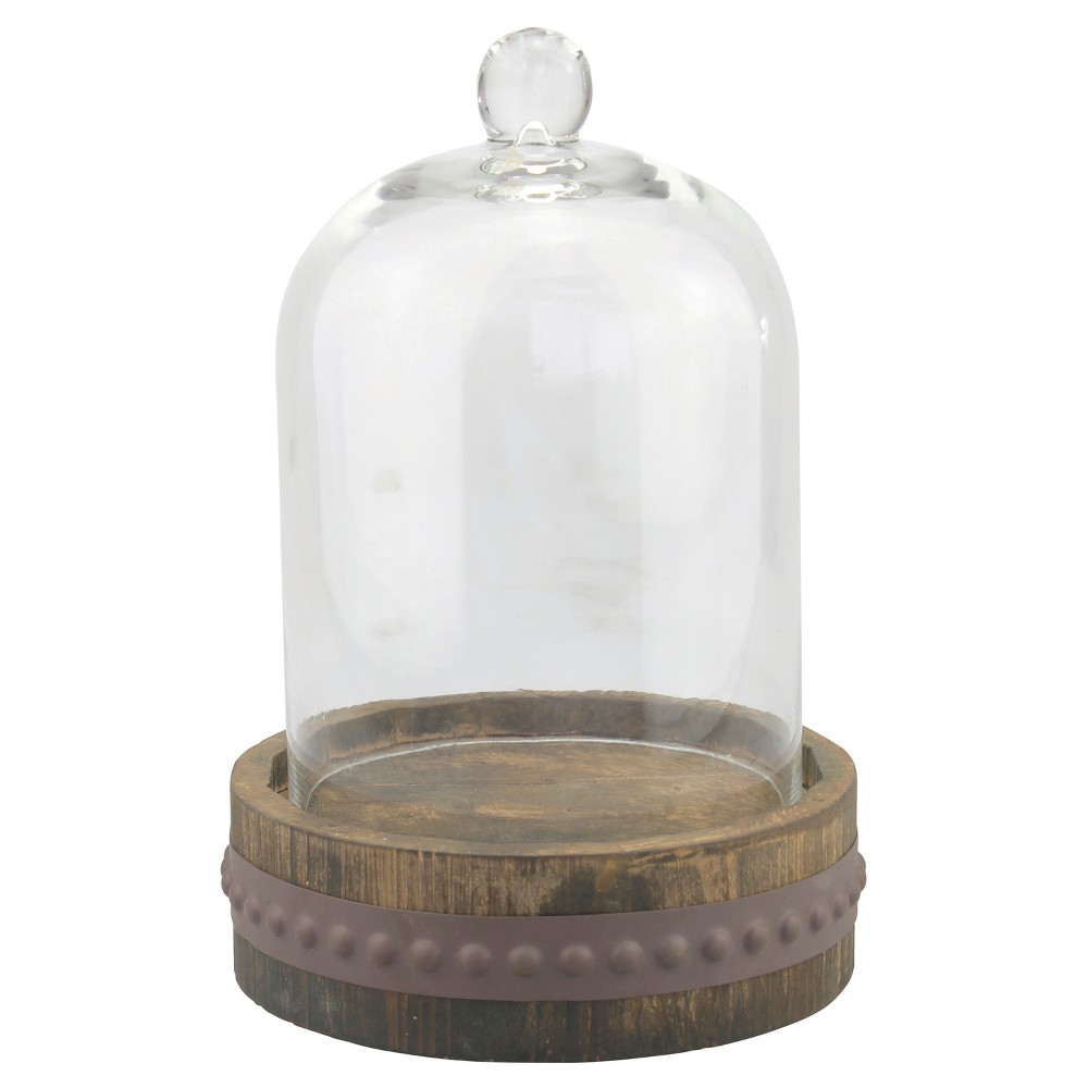 Top Stonebriar Glass Bell Cloche with Rustic Wood and Metal Base - Large