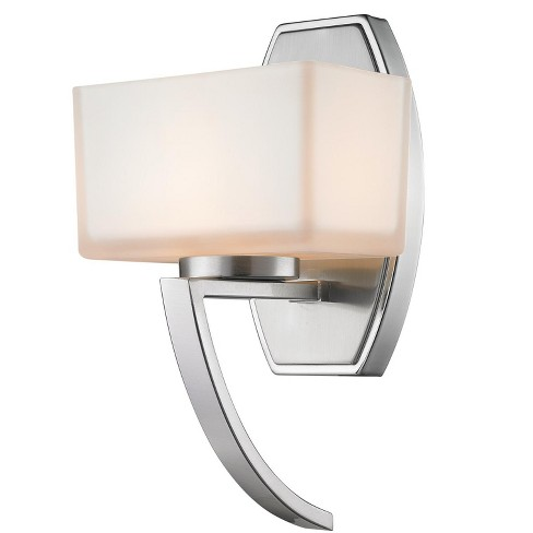 Z Lite 614 1s Cardine 1 Light Wall Sconce With Matte Opal Glass Shade Brushed Nickel Target