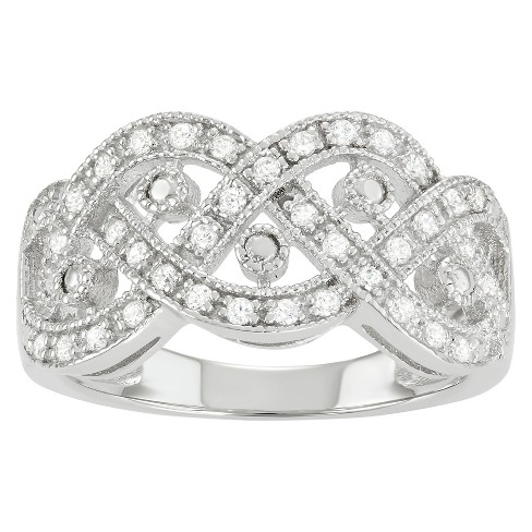 3/8 CT. T.W. Round-cut Cubic Zirconia Woven Design Pave Set Band in Sterling Silver - Silver - image 1 of 1