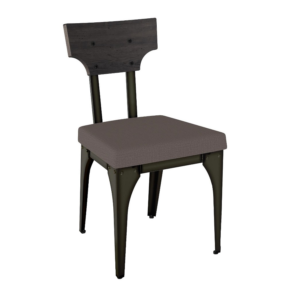 Rally Metal Dining Chair With Distressed Wood Backrest 2 in Set - Dark Gray - Amisco