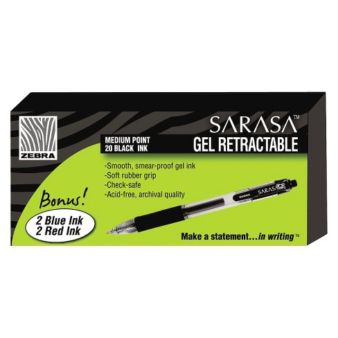 Zebra Sarasa Gel Pen, Medium - Black Ink (24 Per set) - image 1 of 1