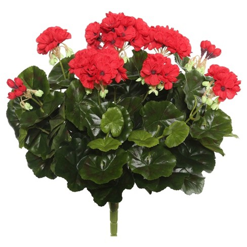 "Artificial Geranium Bush (17.5"") Red - Vickerman - image 1 of 2"