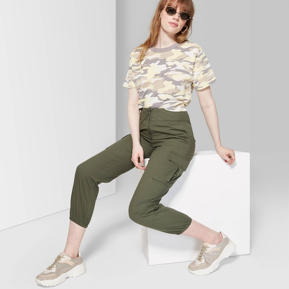 Women's High-Rise Zip Front Cargo Pants - Wild Fable Olive 12, Green