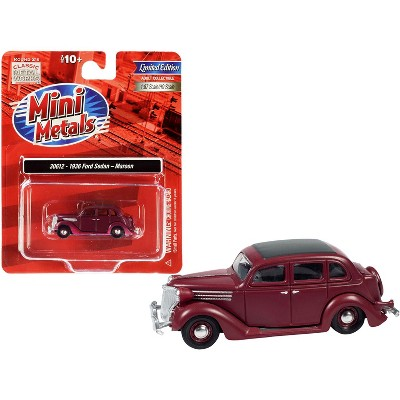 1936 Ford Sedan Maroon with Black Top 1/87 (HO) Scale Model Car by Classic Metal Works