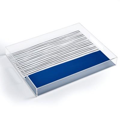 Hello Twiggs Dark Blue Abstract Acrylic Tray - Deny Designs