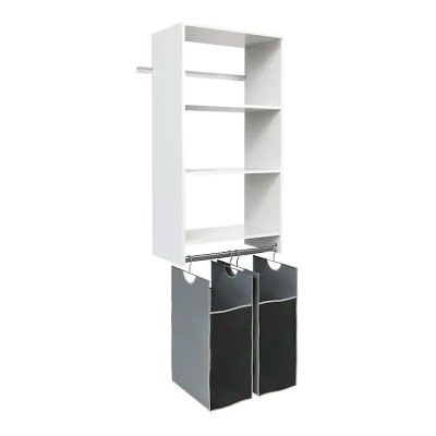 Easy Track Wall Mounted Wardrobe Closet Storage Organizer Kit System with Shelves and Hanging Hamper Kit, White