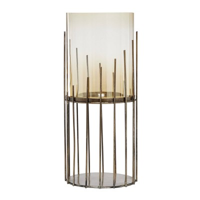 """20"""" x 8.75"""" Glass/Metal Candle Holder Gold - Venus Williams Collection"""