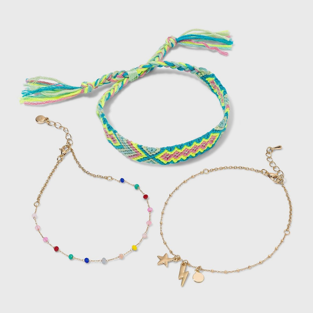 Beads And Lightning Bolt Charms Multi Anklet Set 3pc Wild Fable 8482